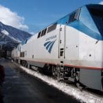 amtrak locomotive; amtrak car; amtrak