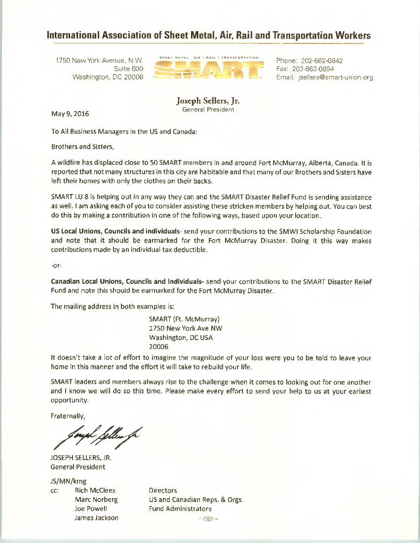 2016 5 9 Ft  McMurray Corrected Letter