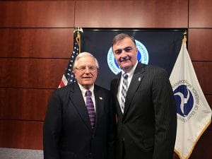 New FRA Administrator Ron Batory, left, and SMART Transportation Division National Legislative Director John Risch pose Feb. 28 after Batory's swearing-in ceremony.