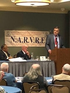 SMART Transportation Division National Legislative Director John Risch addresses the NARVRE biennial convention May 21 in Iowa.